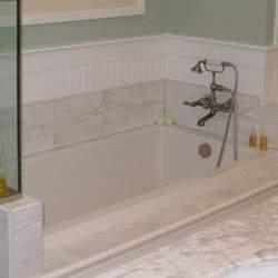 White Bath with Tile Flange