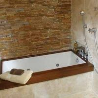 Small retangle tub installed as an undermount soaking tub