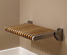 Teak Shower Seat, seat down for use