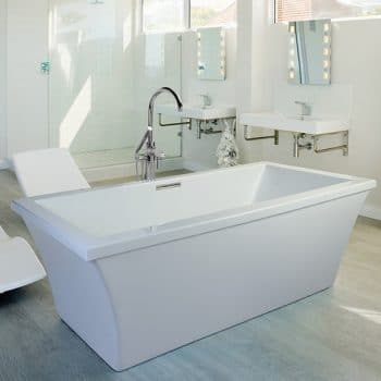 Modern Rectangle Floor Mount Bath with Curving Sides