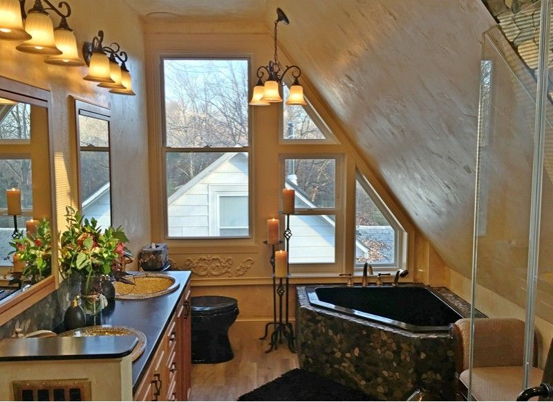 Corner Bathtub, Lots Of Light And Rock Tile