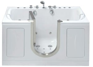 The Companion is an acrylic inward swing walk in bathtub, shown with dual massage.