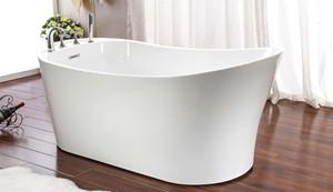 Oval Freestanding Slipper Bathtub with Faucet Deck