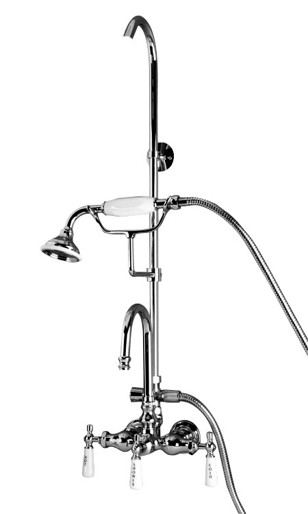 shower riser for clawfoot tub.  Gooseneck Spout Porcelain Lever Handles filler and riser Barclay Clawfoot Tub Shower Faucet Kits