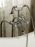 Shut-off Valves, Lever Handles, Telephone Style Hand Shower Craddle, Floormount Tub Filler