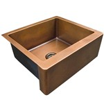 Copper Single Bowl, Kitchen Sink with Smooth Apron