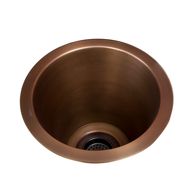 Round Copper Bar Sink With Smooth Finish