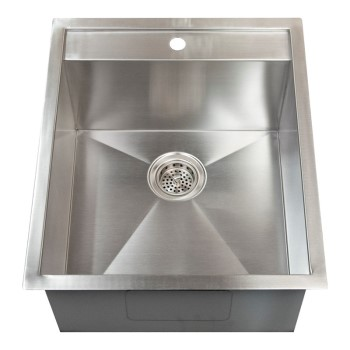 Rectangle Satin Stainless Steel Sink with Faucet Deck for Single Hole Faucet
