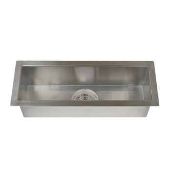 Long and Narrow Rectangle Satin Stainless Steel Sink with Zero Radius Corners