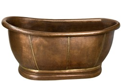 Oval Copper Tub with Brass Accents