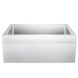 Satin Stainless Steel Farmer Sink, Angled Ban on Top of Apron