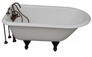 White Clawfoot Tub with Oile Rubbed Bronze Tub Faucets