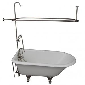 White Clawfoot Tub with Brushed Nickel Shower & Faucets