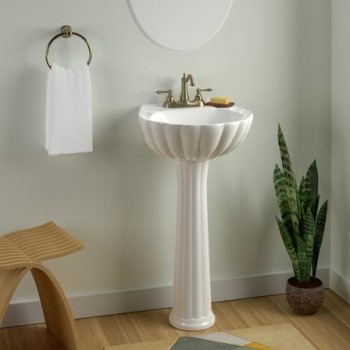 Shell Style Pedestal, Shown in White with Centerset Faucet