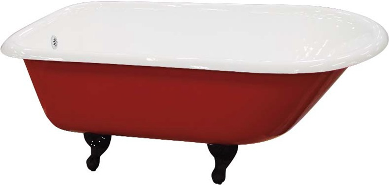 blue cast iron bath with red skirt