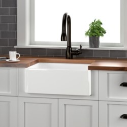 Brooke Farmhouse Sink Installed, Apron Front, Rounded Corners