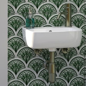 Small Wall Hung Sink with Oval Basin, Single Hole Faucet on Right