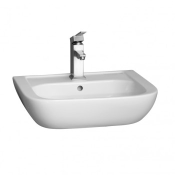 Half Circle Basin, Curving Sides, Shown with Single Hole Faucet