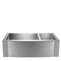 Offset Double Bowl Apron Sink with Beveled Apron