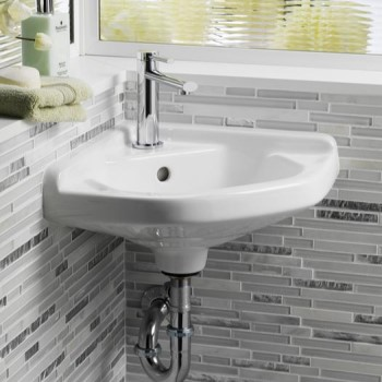 Small Corner Sink with Oval Basin, Songle Hole Drilling