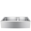 Double Bowl Apron Sink with Curved Apron