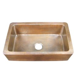Single Bowl Copper Sink, Hammered Finish, Rounded Front Corners
