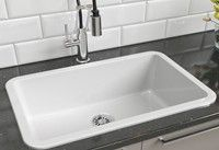 Rectangle White Fire Clay Drop-in Kitchen Sink