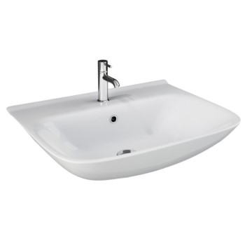 Beautiful Curving Sink with Thin Walls, Shown with Single Hole Faucet