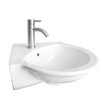 Evolution Wall Sink, Side View, Round Bowl, Corner Faucet Deck
