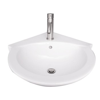 Corner Sink with Round Basin, Shown with Single Hole Faucet