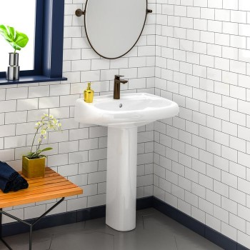 Modern Oval Pedestal, Shown with Single Hole Faucet