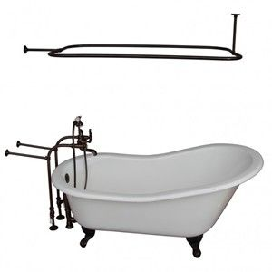 Freestanding Faucets, Hand Shower, Oval Shower Rod, Slipper Clawfoot