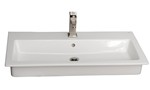 Large Trough Rectangle Sink, Shown With Single Hole Faucet Drilling