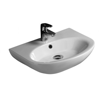 D Shaped Wall Hung Sink with Oval Basin and Tap Deck