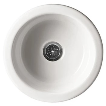 White, Round Sink with Center Drain