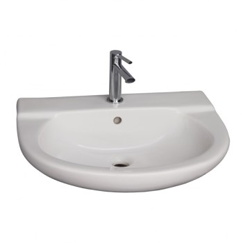 Modern D Shaped Wall Hung Sink with Oval Basin, Raised Tap Deck, Single Hole Faucet