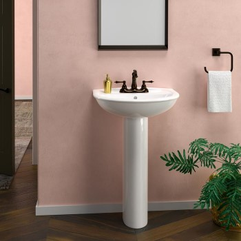 Half Circle Basin, D Shaped Sink, Rounded Pedestal