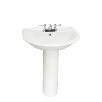 Karla Pedestal Shown with 4 Inch Faucet Drilling