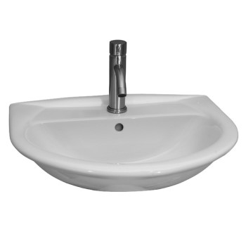 Half Circle Basin, D Shaped Sink, Tap Deck and Backsplash, Shown for Single Hole Faucet