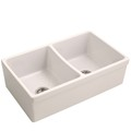 Double Bowl Fire Clay Kitchen Sink, Banded Apron