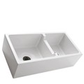 60/40 Double Bowl Fire Clay Kitchen Sink with Smooth Apron