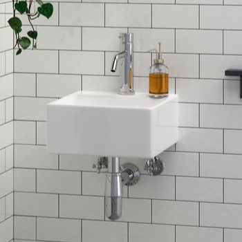 Small Square Wall Sink with Single Hole Faucet Deck
