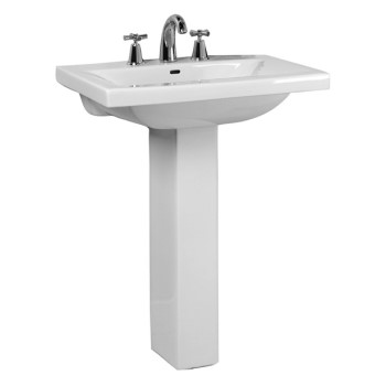 Modern Squared Pedestal, Shown with Widespread Faucet
