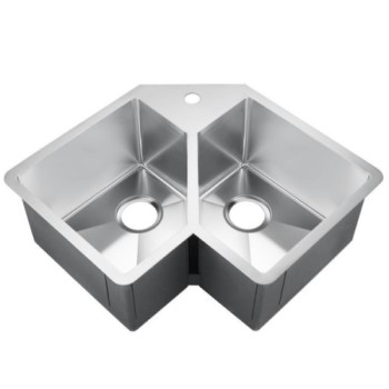 Corner Sink with 2 Equally Sized Triangular Bowls