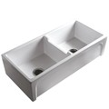 50/50 Double Bowl Fire Clay Kitchen Sink with Arched Trim Apron