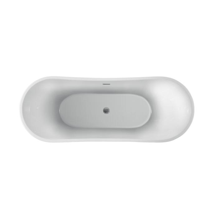 Top View - Linear Drain - Oval Bath with Center Drain