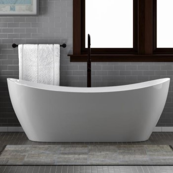 Nyx Installed with a Freestanding Tub Faucet Behind The Bath