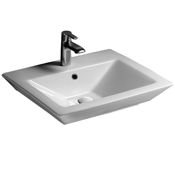 Drain Not Included; Rectangle Vessel Sink With Single Hole Faucet