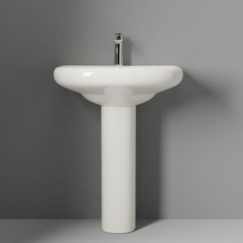 Pretty Rounded Sink and Pedestal, Shown with Single Hole Faucet