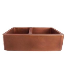 Smooth Copper Farmer Sink with with 2 Basins
